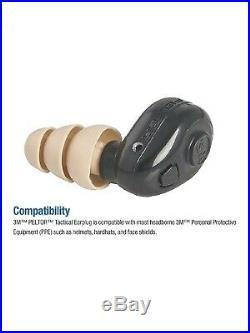 3M PELTOR TEP-100 Tactical Digital Earplug Kit, New, Black, 3 fits