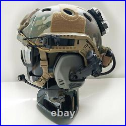 Custom Multicam FAST Tactical Bump Helmet + Electronic Earmuffs + ANSI Goggle