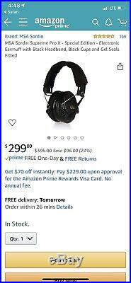 MSA Sordin Supreme Pro X Special Edition Electronic Earmuff with Black
