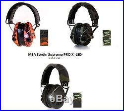 MSA Sordin Supreme Pro X W LED Light Electronic Earmuff Camo Band GREEN Cups & G