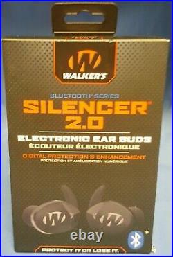 NEW Walker's Silencer 2.0 Bluetooth Rechargeable Ear Buds GWP-SLCR2-BT Black