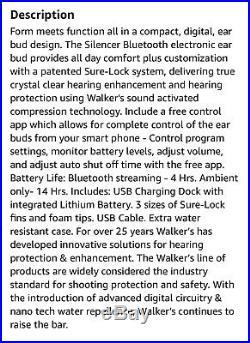 Walker's Game Ear R600 Silencer Ear Buds Rechargeable NRR23dB GWP-SLCRRC-FDE