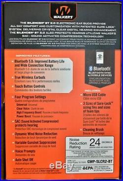 Walker's Silencer 2.0 Bluetooth Rechargeable Ear Bud Set #GWP-SLCR2-BT NEW