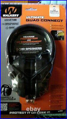Walker's Ultimate Digital Quad Connect Electronic Earmuffs withBluetooth -NRR 27db