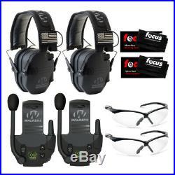 Walkers Razor Electronic Muffs (Black Patriot) 2-Pack, Walkie Talkies & Glasses