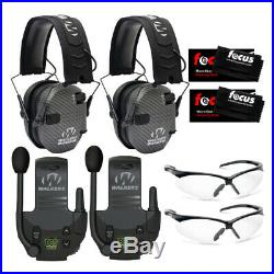 Walkers Razor Slim Electronic Muffs (Carbon) 2-Pack with Walkie Talkies & Glasses